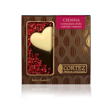 Czekolada ciemna z malinami i sercami z białej czekolady 100g Cortez