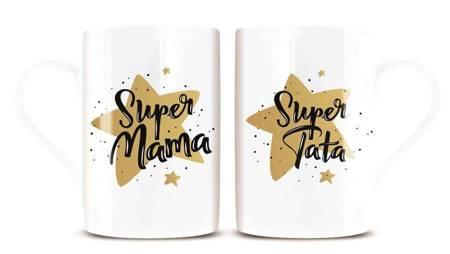 Komplet 2 kubków SUPER MAMA / TATA Kukartka